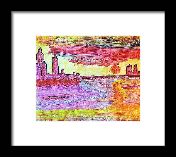 Battlements Framed Print featuring the painting City Landscape 100 by Ricardo Richard W Linford