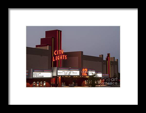City Lights Movie Theater Georgetown Texas Movies Theaters Building Buildings Structure Structures Architecture Sign Signs Marquee Marquees Framed Print featuring the photograph City Lights Marquee by Bob Phillips