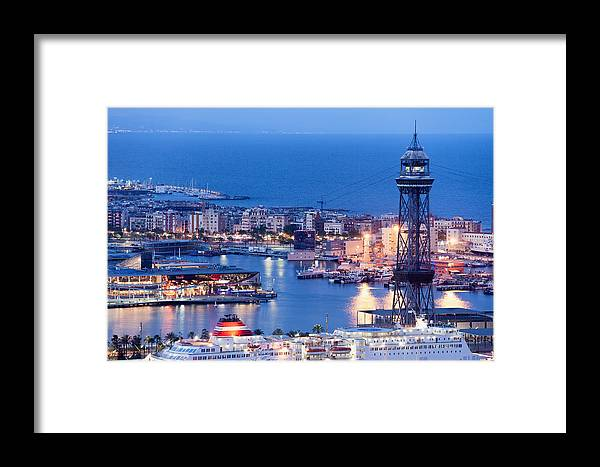 Barcelona Framed Print featuring the photograph City Of Barcelona From Above At Night by Artur Bogacki