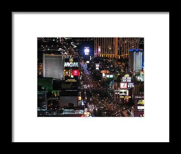 Las Vegas Strip Framed Print featuring the photograph City Of Entertainment by Tammie Miller