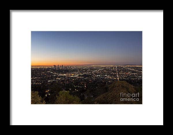 Los Angeles Framed Print featuring the photograph City Of Los Angeles Night by Trekkerimages Photography