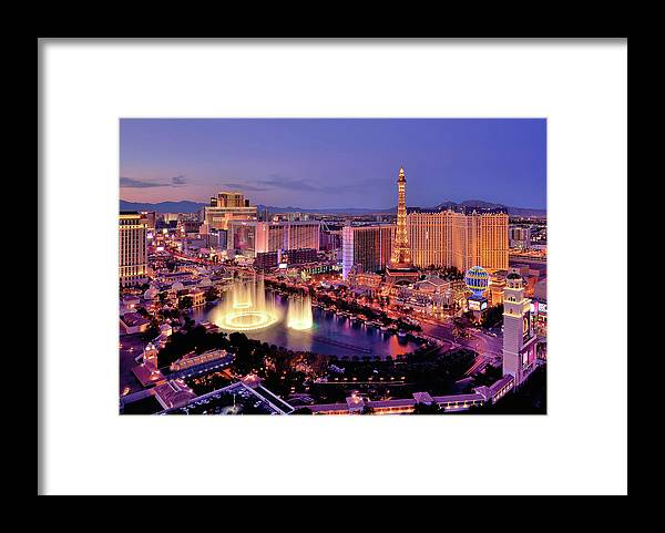 Built Structure Framed Print featuring the photograph City Skyline At Night With Bellagio by Rebeccaang