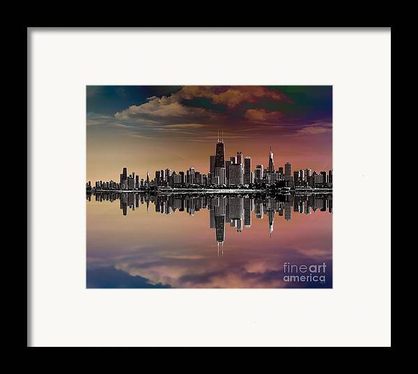 City Framed Print featuring the digital art City Skyline Dusk by Bedros Awak