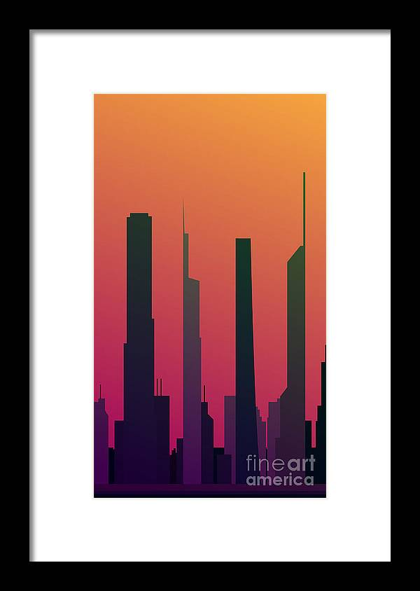 Office Framed Print featuring the digital art Cityscape Design Orange Version | Eps10 by Clickhere