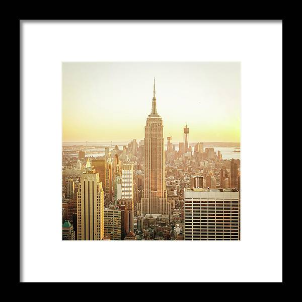 Scenics Framed Print featuring the photograph Cityscape Manhattan Sunset New York by Mlenny