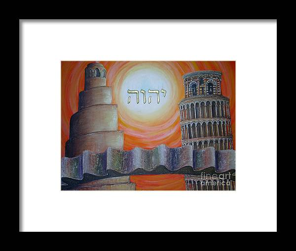 Civilization In Search Of The Sky Framed Print featuring the painting Civilization In Search Of The Sky by Anna Maria Guarnieri