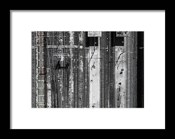 Rail Framed Print featuring the photograph Civitavecchia Train Station by Zhou Chengzhou