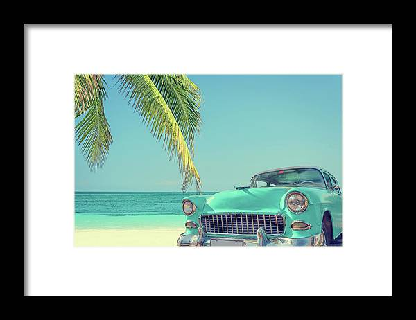 Scenics Framed Print featuring the photograph Classic Car On A Tropical Beach With by Delpixart