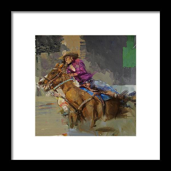 Rodeo Framed Print featuring the painting Classic Rodeo 3b by Maryam Mughal