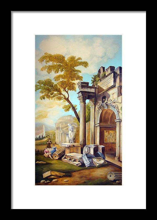 Italian Ruins Framed Print featuring the painting Classical Ruins by Teresa Carter