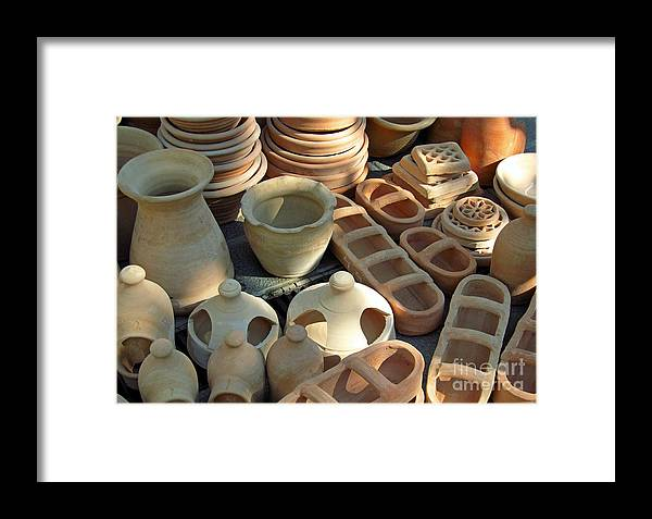 Clay Framed Print featuring the photograph Clay Pots And Other Containers by Tina M Wenger