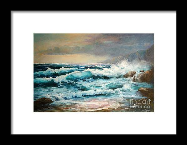 Seascape Framed Print featuring the painting Clear Aqua Waters by Gail Salitui