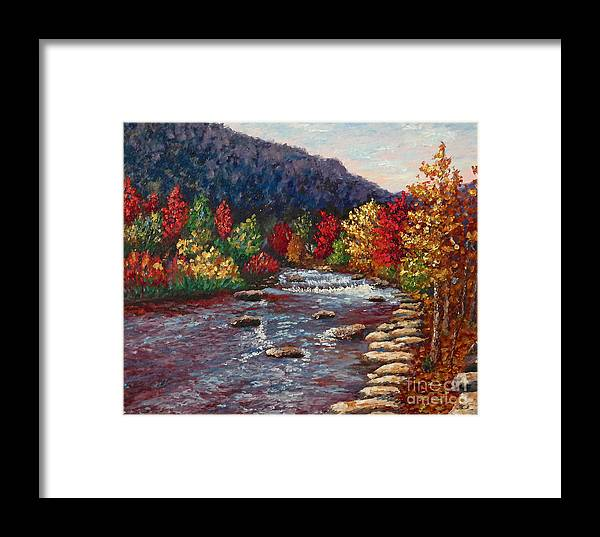 Landscape Framed Print featuring the painting Clear Creek In Golden Colorado by Francesca Kee