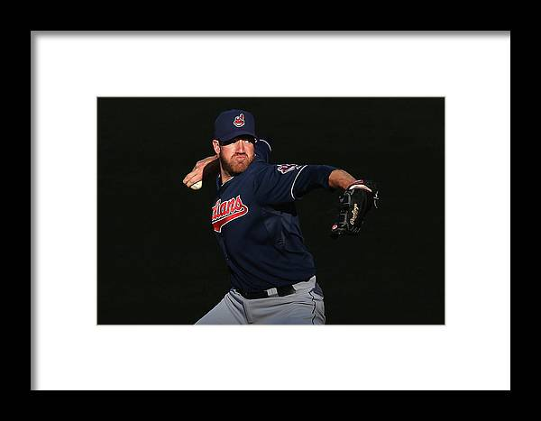 American League Baseball Framed Print featuring the photograph Cleveland Indians V Los Angeles Angels by Jeff Gross