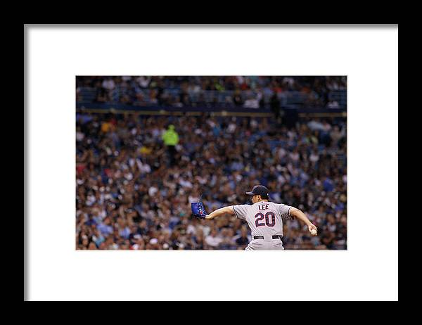 American League Baseball Framed Print featuring the photograph Cleveland Indians V Tampa Bay Rays by Brian Blanco