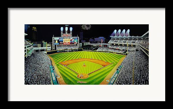 Cleveland Framed Print featuring the painting Cleveland Jackobs Nocturn Fireworks by Thomas Kolendra