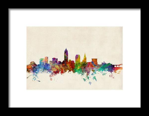 Watercolour Framed Print featuring the digital art Cleveland Ohio Skyline by Michael Tompsett