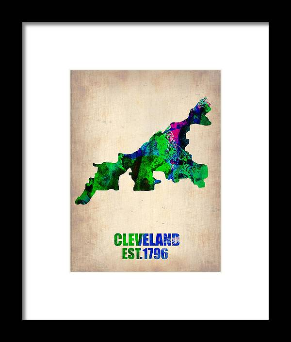 Cleveland Framed Print featuring the painting Cleveland Watercolor Map by Naxart Studio