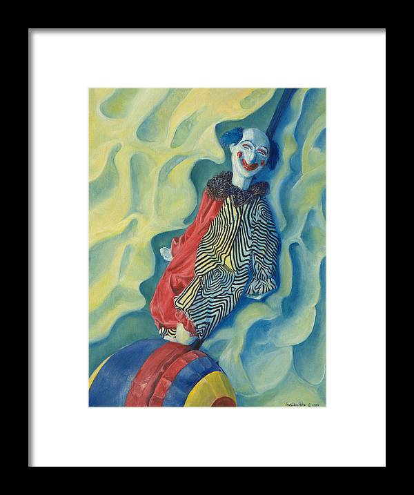 Clown Framed Print featuring the painting Clever by Dario Pinto