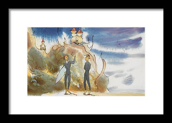 Fine Art Framed Print featuring the painting Cliff Castles by Harry Holiday