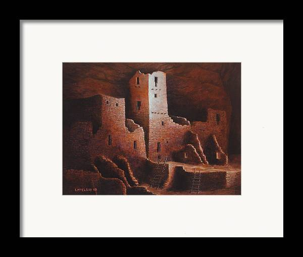 Anasazi Framed Print featuring the painting Cliff Palace by Jerry McElroy