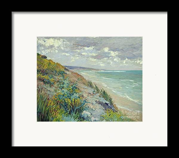 Beach Framed Print featuring the painting Cliffs By The Sea At Trouville by Gustave Caillebotte