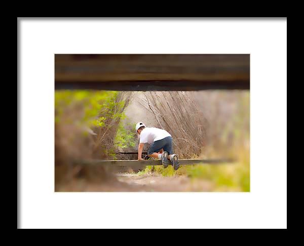 Boy Framed Print featuring the photograph Climb On Over by Brent Dolliver