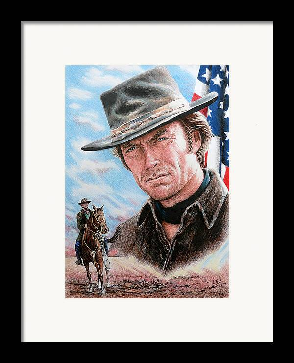 Clint Eastwood Framed Print featuring the drawing Clint Eastwood American Legend by Andrew Read
