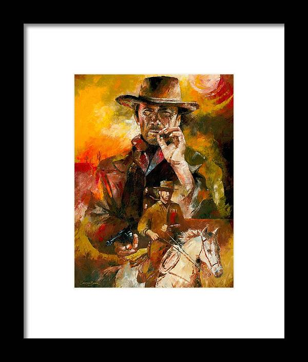 Western Framed Print featuring the painting Clint Eastwood by Christiaan Bekker