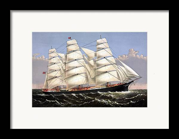 Framed Print featuring the painting Clipper Ship Three Brothers by War Is Hell Store