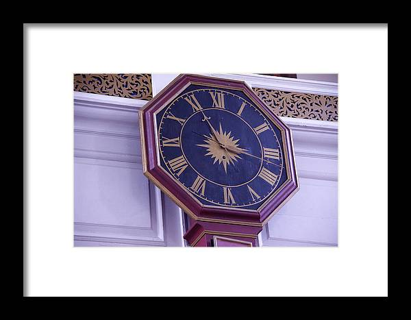 Wood Framed Print featuring the photograph Clock In An Old Church by Dick Willis