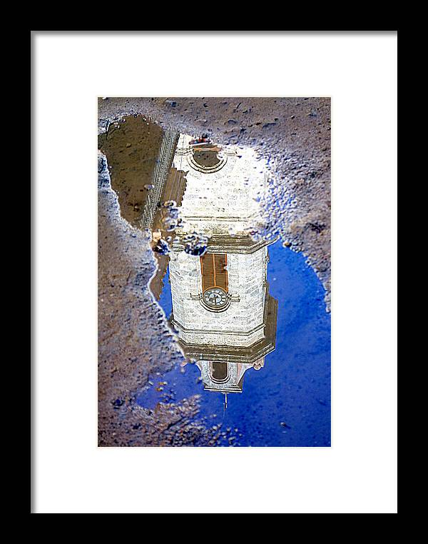 Clock Framed Print featuring the photograph Clock Tower Reflected by Valentino Visentini