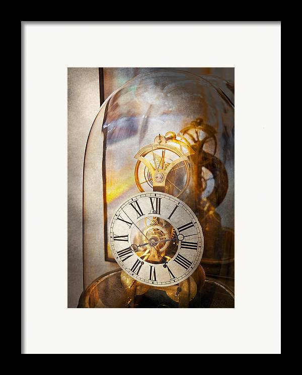 Clockmaker Framed Print featuring the photograph Clockmaker - A Look Back In Time by Mike Savad