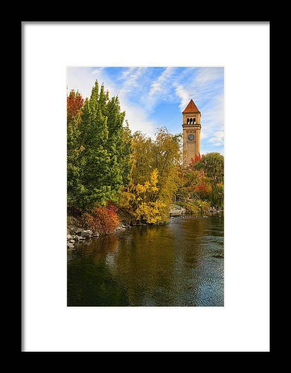 Clock Tower Framed Print featuring the photograph Clocktower In Fall by Paul DeRocker