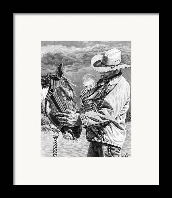 Kids Framed Print featuring the drawing Close To The Heart by Glen Powell