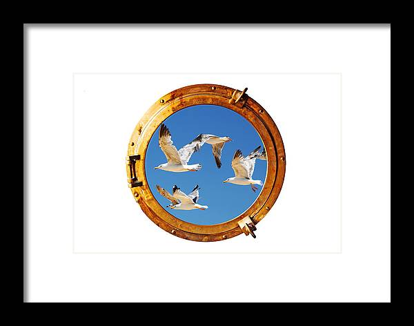 Background Framed Print featuring the photograph Close-up Of A Boat Closed Porthole With Flying Seagull On The White Background by Joel Vieira