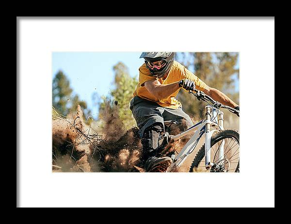 Headwear Framed Print featuring the photograph Close Up Of A Mountain Biker Ripping by Daniel Milchev