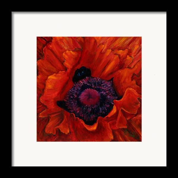 Red Poppy Framed Print featuring the painting Close Up Poppy by Billie Colson