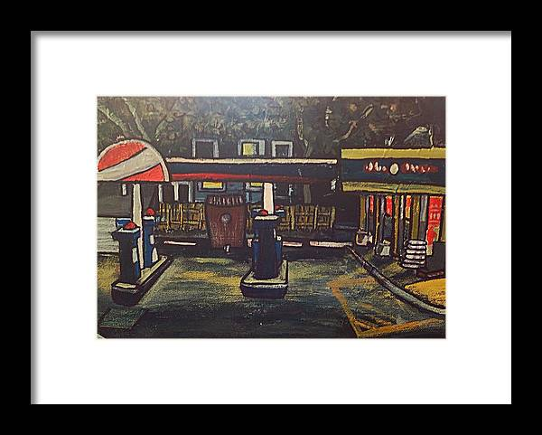 Oil Gas Station Orange Yellow Night Framed Print featuring the painting Closed by Richard Hubal