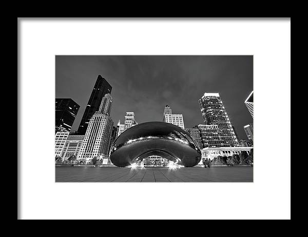 3scape Framed Print featuring the photograph Cloud Gate and Skyline by Adam Romanowicz