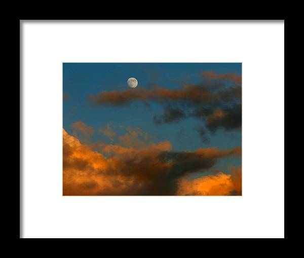 Sunset Framed Print featuring the photograph Cloud Series 36 Of Sunset With Moonrise by Bill Marder