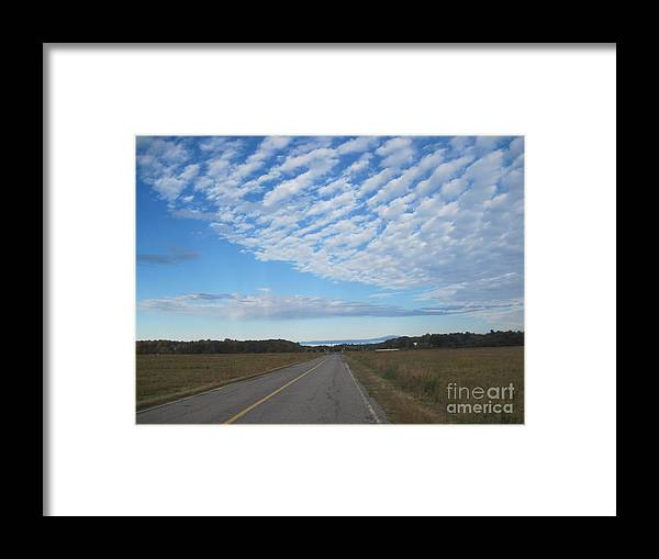 Clouds Framed Print featuring the photograph Clouds Along Newman Road by Barbara Milhender