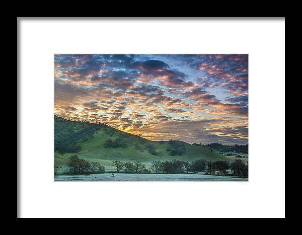 Landscape Framed Print featuring the photograph Clouds At Sunrise On A Frosty Morning by Marc Crumpler