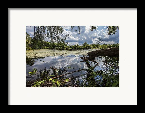 Www.cjschmit.com Framed Print featuring the photograph Clouds On The Water by CJ Schmit