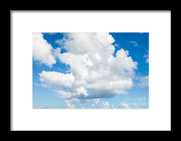 Cumulus Framed Print featuring the photograph Cloudscape With Blue Sky by Sarah Cheriton-Jones