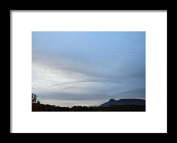 Paul Lyndon Phillips Framed Print featuring the photograph Cloudy Morning At Pilot Mountain - C2675c by Paul Lyndon Phillips