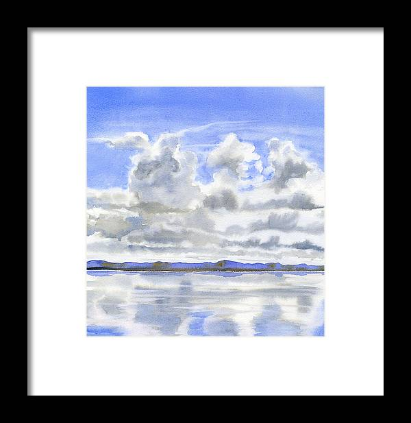 Watercolor Framed Print featuring the painting Cloudy Sky With Reflections by Sharon Freeman