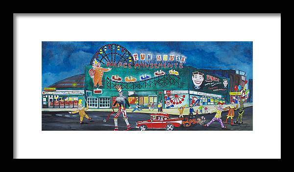 Asbury Park Art Framed Print featuring the painting Clown Parade at the Palace by Patricia Arroyo
