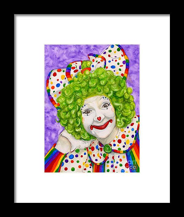 Clown Art Framed Print featuring the painting Watercolor Clown #12 Sue Marranconi by Patty Vicknair