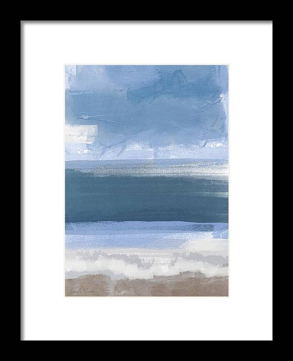 Coastal Framed Print featuring the painting Coastal- Abstract Landscape Painting by Linda Woods
